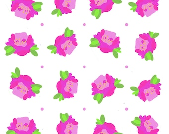 Pink printed fabric on white background