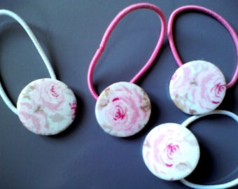Button hair accessories round pink pattern