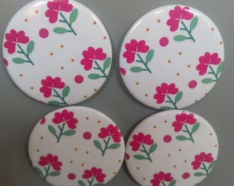 pink flower pattern magnets