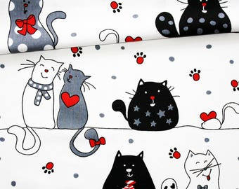 Black red and grey cotton cats fabric printed oeko tex