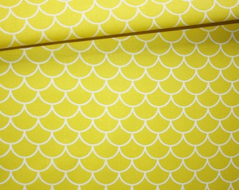 Fabric small scales, sushi, 100% cotton printed 50 x 160 cm, yellow and white scales