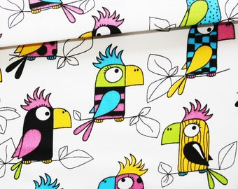 Parrot, 100% cotton fabric printed 50 x 160 cm, parrots on white background