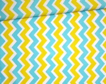 Fabric chevron zig zag, 100% cotton printed 50 x 160 cm, yellow, turquoise and white