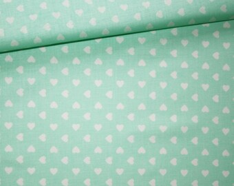 Fabric hearts white Mint, 100% cotton printed 50 x 160 cm pattern white hearts on Mint green background