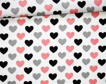 Fabric hearts, 100% cotton 50 x 160 cm, hearts, black, gray, pink on bottom