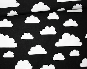Clouds, 100% cotton fabric printed 50 x 160 cm, white clouds on black background