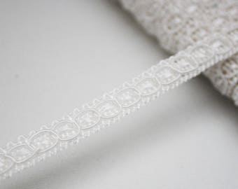 8 mm, 1 m white beaded lace trimming