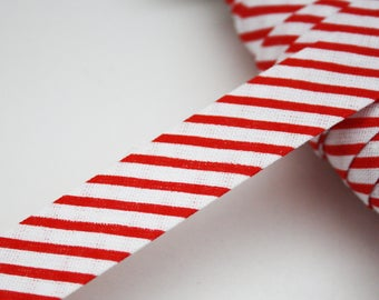 Navy striped red and white stripes 18 mm, folded, bias