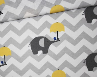 Grey elephant fabric with yellow umbrella on grey and white chevrons in cotton printed oeko tex