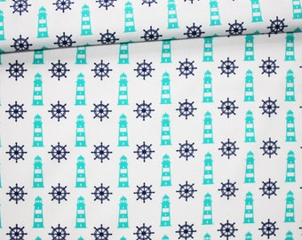 Rudders and lighthouses, 100% cotton fabric printed 50 x 160 cm, rudders and turquoise and blue lights on white pattern