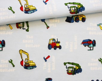 Single jersey tractor, bulldozer, 50 x 160 cm, single jersey printed vehicles construction on pastel blue background