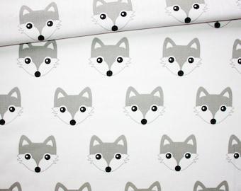 Foxes cotton oeko tex grey and white fabric