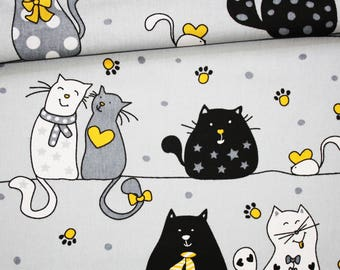 Cats, 100% cotton fabric printed 50 x 160 cm, cats on gray background