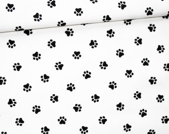 Black and white dog paws, 100% cotton fabric printed 50 x 160 cm, oeko-tex