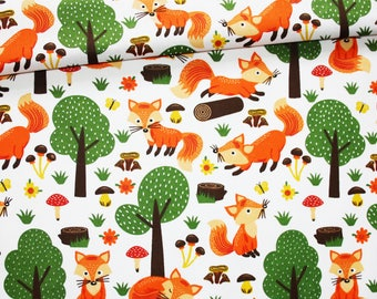 Fox fabric in a forest on a white background in certified cotton certified oeko tex