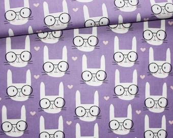 Rabbit, 100% cotton fabric printed 50 x 160 cm, white rabbit heads on purple background