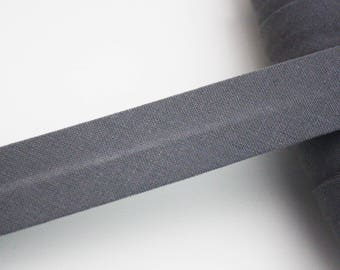 Gray bias, 18 mm, universal pré-plissée cotton bias