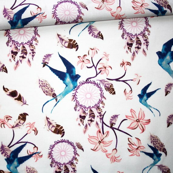 100/% Cotton turquoise background small blue /&  lilac flowers 160 cm wide