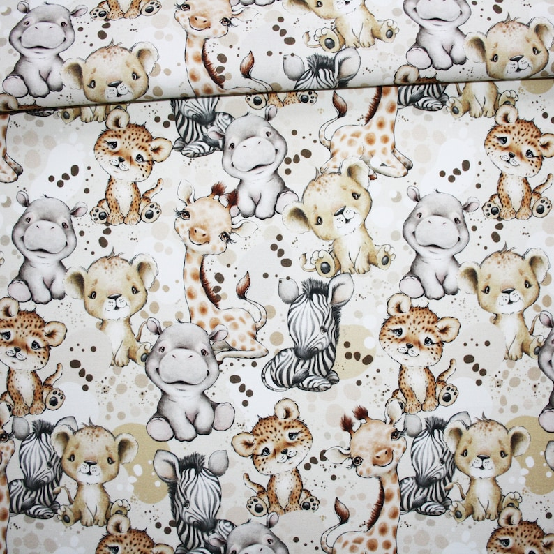 Baby savannah animal fabric in cotton printed PREMIUM oeko tex white background