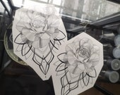 Peony with ornament~ temporary tattoo by Crystal Rose Tattoo