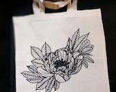 Peony tote bag, Crystal Rose tattoo