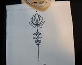 Lotus with ornament tote bag, Crystal Rose tattoo