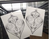 Ornamental heart~ temporary tattoo by Crystal Rose Tattoo