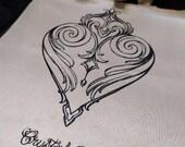Heart/anchor/mandala tote bag, Crystal Rose tattoo
