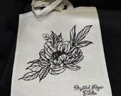 Peony/Peony no. 2./fox/ side mandala tote bag, Crystal Rose tattoo