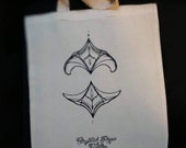 Ornamental tote bag, Crystal Rose tattoo
