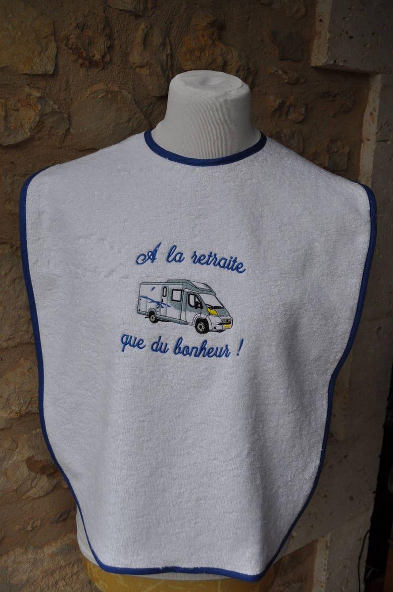 ADULT bib camping car sponge white blue bias