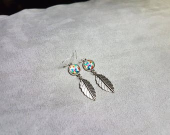 Multicolor earring leaf