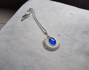 dark blue oval Moonstone necklace