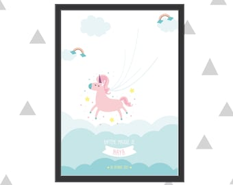 Tree imprint for baptism or birthday with your child's magical unicorn theme