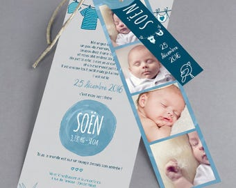 Birth announcements in blue tones