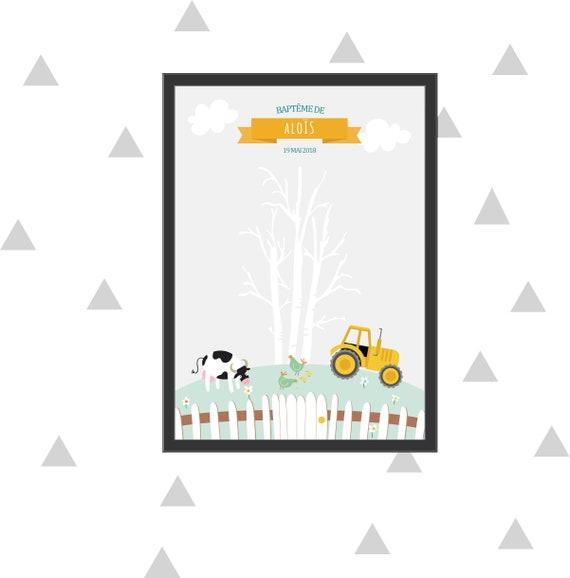 Arbre à empreinte pour le baptême ou un anniversaire de votre enfant sur le thème de la ferme