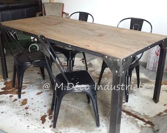 Meuble Industriel Table De Salle A Manger 2 Banc Etsy