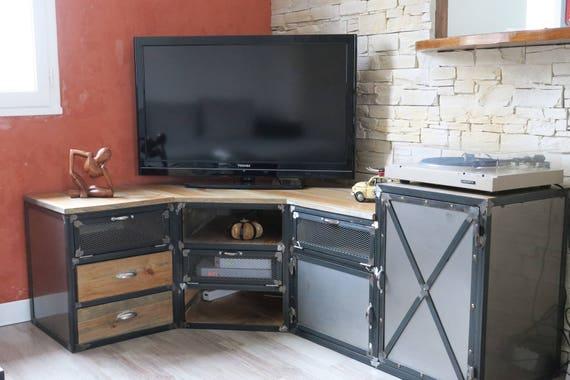 meuble industriel tv d 39 angle porte acier tiroir bois etsy