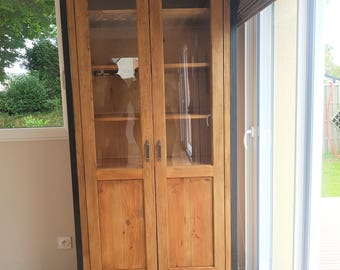 Industrial 2 Hutch buffet doors half glass and wood