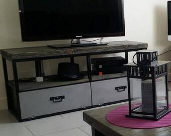 Industrial tv Cabinet solid FIR gray 2 steel valves