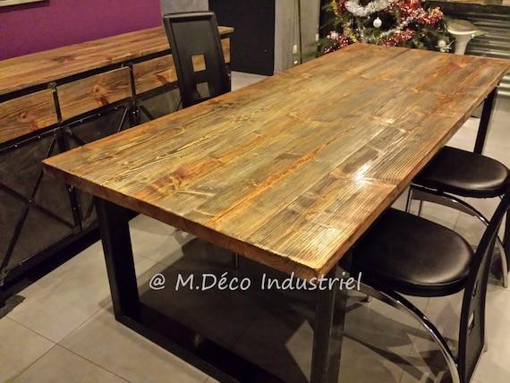 Meuble Industriel Table De Salle A Manger Pied En Acier Etsy