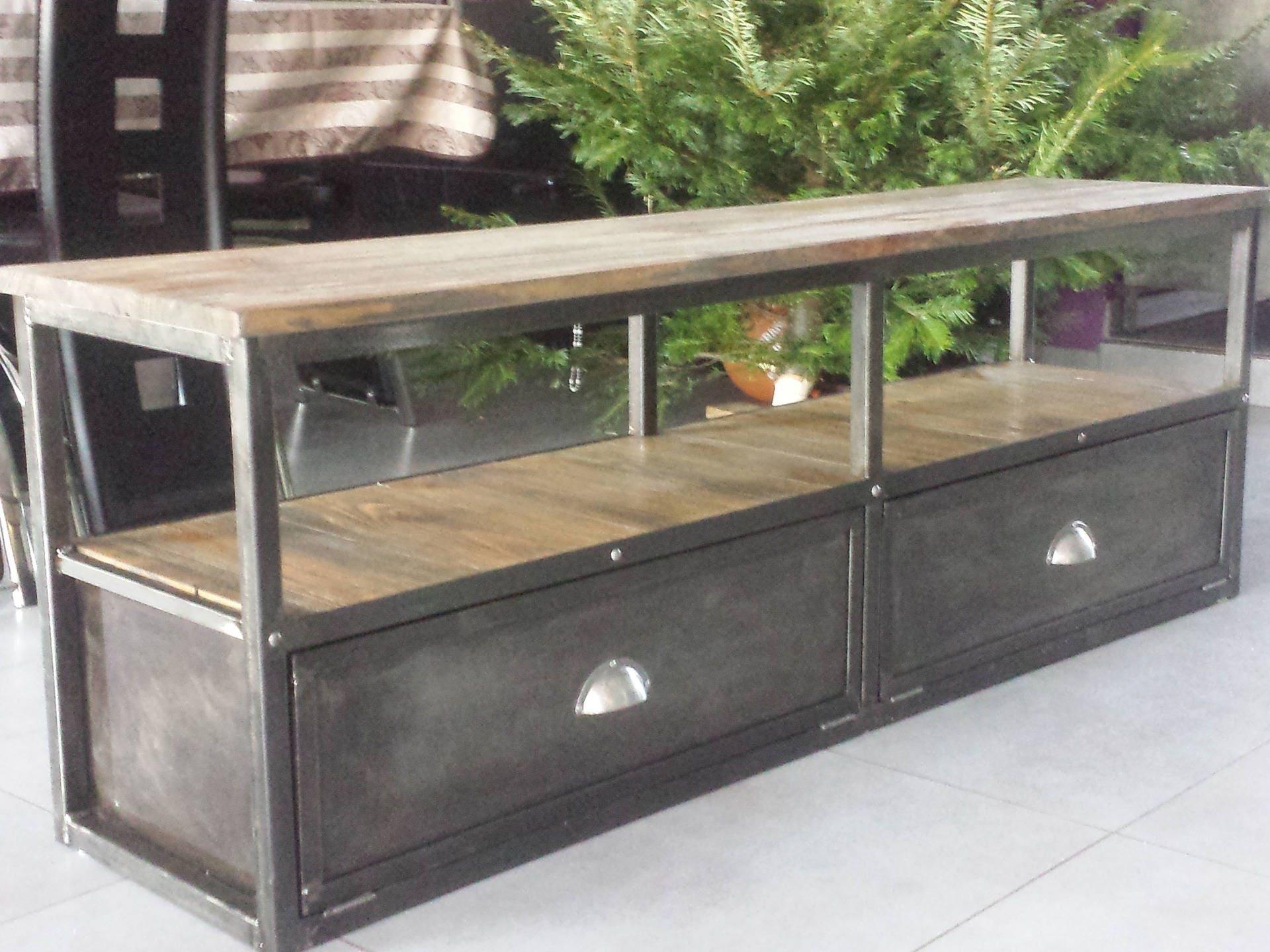 meuble industriel tv m 233 tal bois vieillis 2 clapets acier
