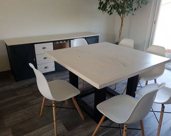 Dining room table foot Central steel solid bleached pine top