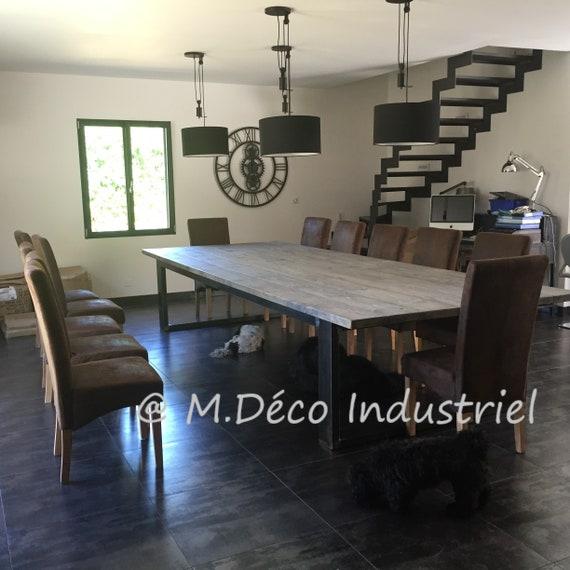 table de salle manger xxl style industriel pied en acier plateau en sapin massif gris