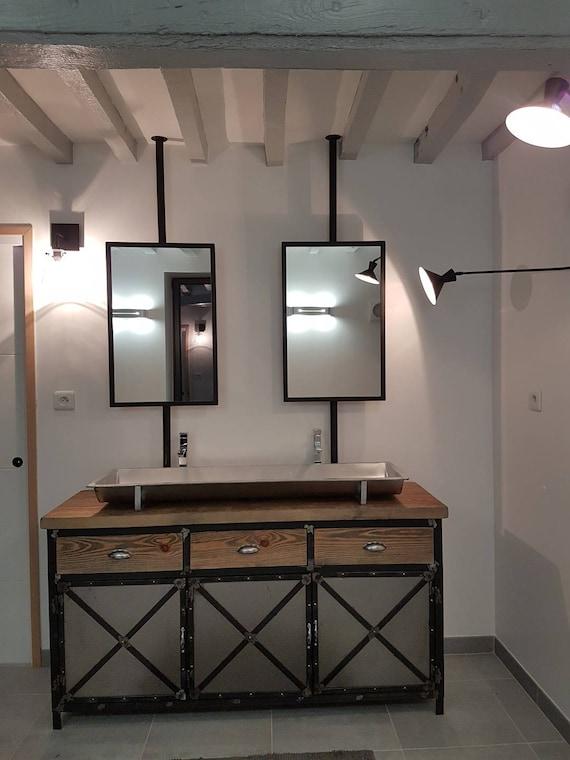 Meuble de salle de bain style industriel en acier et bois massif auge en  galva miroir sur pied