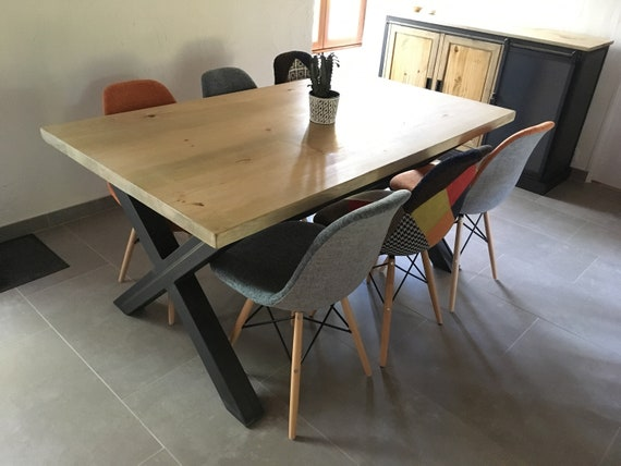Dining Table Style Industrial Foot X Bar Central Plateau Pine Solid Straight Edge