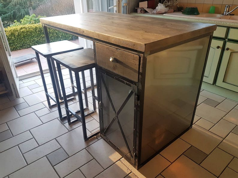 Central Industrial Kitchen Island Door Steel Drawer Solid Wood