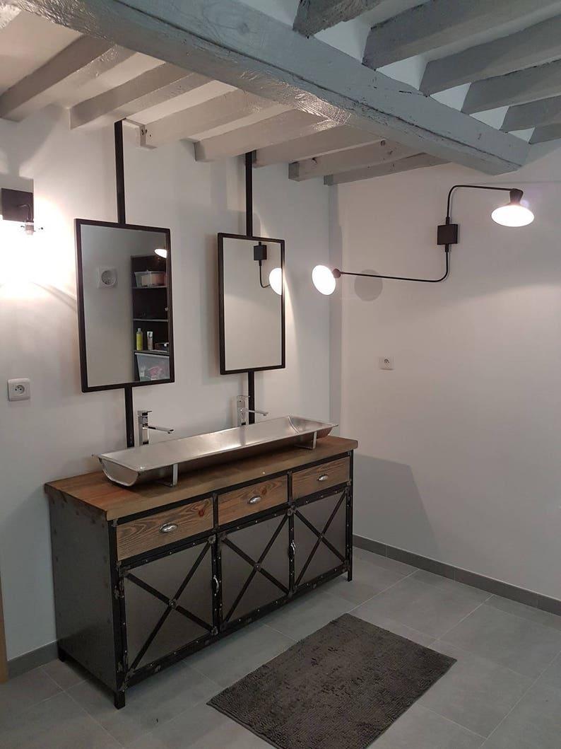 Meuble de salle de bain style industriel en acier et bois | Etsy