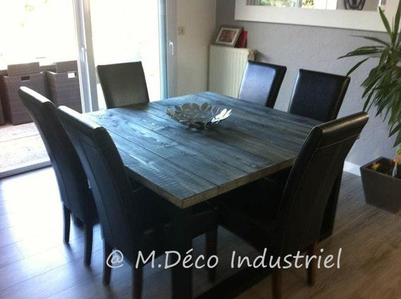 Meuble Industriel Table De Salle à Manger Carré Acier Et Bois Grisé