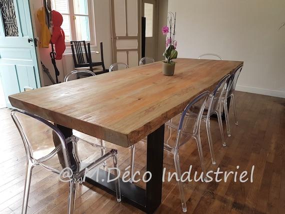 Table Salle A Manger Style Industriel.Table Industriel De Salle A Manger Style Industriel En Pin Massif De 8 Cm